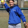 Danvers:<br /> Gabby Vega warms up during the Danvers High softball practice at Great Oak School field.<br /> Photo by Ken Yuszkus/Salem News, Monday, March 28, 2011.