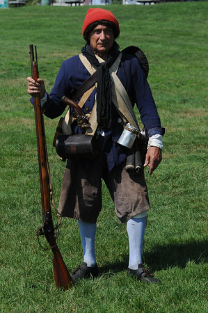 Beverly:<br /> Bob Erbetta is dressed in his Glover Regiment uniform. The annual Glover Regiment's encampment on Fort Sewall is coming up this weekend.<br /> Photo by Ken Yuszkus/Salem News, Wednesday, July 6, 2011.