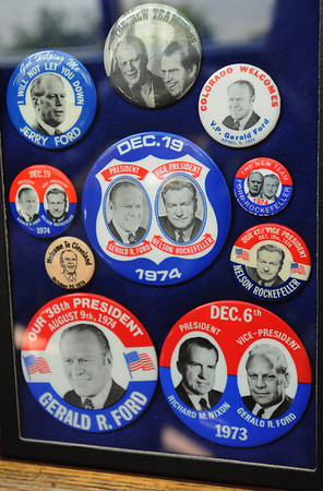 Danvers:<br /> A collection of Gerald Ford buttons owned by Alan Hartnett, an avid collector of political memorabilia.<br /> Photo by Ken Yuszkus/Salem News, Wednesday, February 8, 2012.
