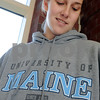 Ipswich:<br /> Ipswich basketball standout Amber Smith, with her University of Maine sweatshirt. She accepted a scholarship offer from Division 1 University of Maine.<br /> Photo by Ken Yuszkus/Salem News, Tuesday September 23, 2008.