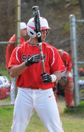 Salem;<br /> Greg Spelliotis gets some batting practice before the Salem High baseball scrimmage with North Reading.<br /> Photo by Ken Yuszkus/Salem News, Thursday, April 5, 2012.