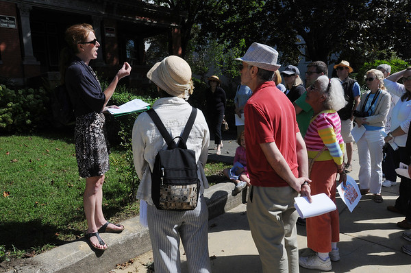Salem:<br /> Dr. Elizabeth Duclos-Orsello, left, speaks to the gathered group during the walking tour on Lafayette Street on Sunday.<br /> Photo by Ken Yuszkus/Salem News, Sunday, September 11, 2011.