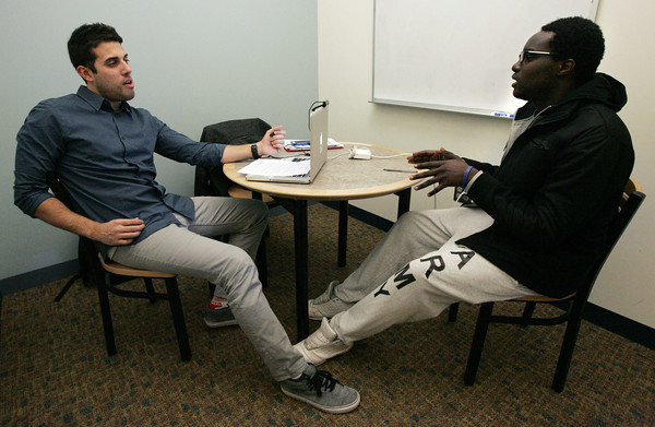 Beverly:<br /> Jeff Musolino, left, producer, interviews Beverly High School senior Kenny Paul during the Casting call for MTV-MADE television series held at the Beverly High School.<br /> Photo by Ken Yuszkus/The Salem News, Thursday, January 24, 2013.