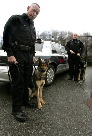 Salem:<br /> Salem canine police officers Tim Salvo, left, stands with Turbo, and Ryan Davis stands with Kruger.<br /> Photo by Ken Yuszkus/The Salem News, Thursday, January 31, 2013.