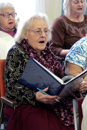 Salem:<br /> Dorothy Slaven is one of the Goldentones who is practicing singing at the Salem Council on Aging.<br /> Photo by Ken Yuszkus/The Salem News, Thursday, January 31, 2013.