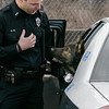 Salem:<br /> Salem canine police officer Jon Bedard talks to K9 Thor who is about to exit the police car.<br /> Photo by Ken Yuszkus/The Salem News, Thursday, January 31, 2013.