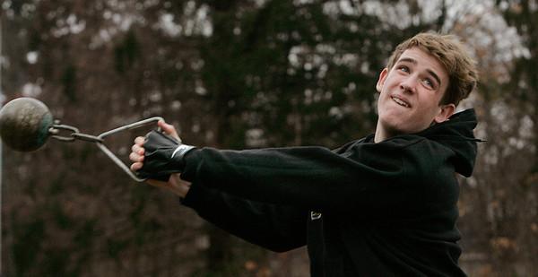Danvers:<br /> Dan Sullivan is one of St. John's Prep weight throwers.<br /> Photo by Ken Yuszkus/The Salem News, Wednesday, January 30, 2013.