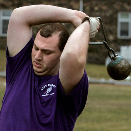 Danvers:<br /> David Roy is one of St. John's Prep weight throwers.<br /> Photo by Ken Yuszkus/The Salem News, Wednesday, January 30, 2013.