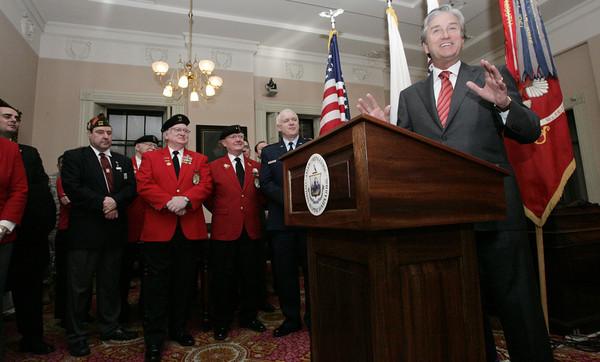 Salem:<br /> Congressman John Tierney speaks during the ceremony at Salem City Hall marking Salem as birthplace of the National Guard.<br /> Photo by Ken Yuszkus/The Salem News, Thursday, January 17, 2013.