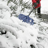 Beverly:<br /> Murray Matsqbale knocks the snow off the shrubs in front of his home while he shoveled his walkway. Snow blanketed the area early Wednesday morning.<br /> Photo by Ken Yuszkus/The Salem News, Wednesday, January 16, 2013.