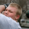 Danvers:<br /> Evan Dombrowski is one of St. John's Prep weight throwers.<br /> Photo by Ken Yuszkus/The Salem News, Wednesday, January 30, 2013.