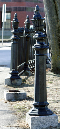 Salem:<br /> Two sections are missing from this area of the Salem Common fence.<br /> Photo by Ken Yuszkus/The Salem News, Wednesday, January 23, 2013.