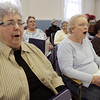Salem:<br /> Goldentones, front row from left, Irene Connell, Betty Burke, and Maria Prieto practice singing at the Salem Council on Aging.<br /> Photo by Ken Yuszkus/The Salem News, Thursday, January 31, 2013.