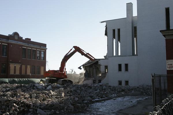 Salem:<br /> Demolition of St. Joseph Church on Thursday morning.<br /> Photo by Ken Yuszkus/The Salem News, Thursday, January 10, 2013.