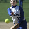 Danvers: Danvers High pitcher, Taylor Marie Dullea delivers a pitch against Ipswich, at Great Oak softball fields. photo by Mark Lorenz/Salem News