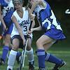 Hamilton: Hamilton-Wenham's Grace Farnan tries to block Georgetown High School's Shannon Killian near Hamilton-Wenhams goal. Photo by Mark Lorenz/Salem New