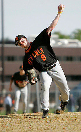 Peabody: Beverly High pitcher, Ethan Trowt during game against Peabody Photo by Mark Lorenz/Salem News