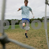 Peabody: Peabody High School soccer captain AJ Grube takes practice shots during practice. Peabody is the lone unbeaten  team (5-0-0) in the Northeastern Conference. Photo by Mark Lorenz/Salem News