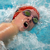Marblehead: Mia Sweeney lead leg of the 400 freestyle relay in meet against Beverly. Photo by Mark Lorenz/Salem News