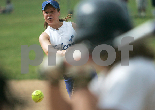 Danvers: Danvers High's Diana Bean delivers a pitch in the  Division 1 North quarterfinal softball action against Lincoln-Sudbury. Photo by Mark Lorenz/Salem News