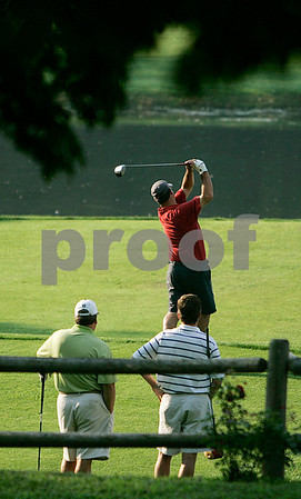 Boxford: Cy Kilgore of Tedesco Country Club and John Gilmartin from Indian Ridge watch Ron Harwood of Far Corner tee for the start of the North Shore Amateur Championship held at Far Corner Golf Club. Photo by Mark Lorenz/Salem News August 19, 2008