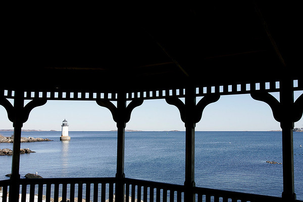 Salem: The light house on Winter Island, taken from inside of the gazebo. Many of the buildins are in need of repairs. There is a consultant led process on how to improve Winter Island. Photo by Mark Lorenz/Salem News