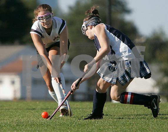 Salem: Salem High's Grace Bennett tries to steal the ball from Revere's Jenn Van Buskirk in Salem's home game. Photo by Mark Lorenz/Salem News