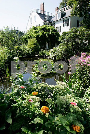 Salem: Flowers surround a pond, which are part of the many variety of plants and flowers at Ropes Mansion. Photo by Mark Lorenz/Salem News August 13, 2008