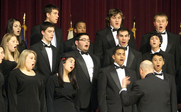 "Peabody: Peabody High School chorus lead by director Jon Simmons perform, ""Star Spangled Banner,"" during Mayor Michael Bonfanti's address at city hall. Photo by Mark Lorenz/Salem News"