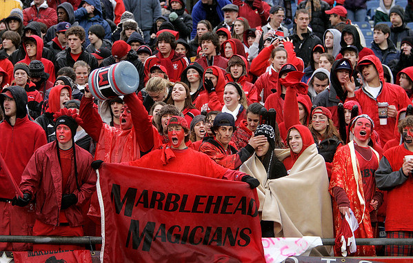 Foxboro: Marblehead High fans cheer on their team in Div III Superbowl agaisnt Bishop Feehan at Gillette Stadium. Photo by Mark Lorenz/Salem News