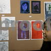 Salem: Salem High School student, Krystal Gale with some of her work, during the Deck the Halls annual student art show at Salem High School. Photo by Mark Lorenz/Salem News