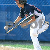 Bristol: Peabody West Matt Correale, reacts after trying to bunt and getting hit in the ankle with the ball in game against Rhode Island for the New England Finals. Peabody defeated Rhode Island 11-7. Photo by Mark Lorenz/Salem News