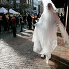 Salem: A ghost moves along Pedestrian Mall, during Halloween in Salem. Photo by Mark Lorenz/Salem News