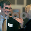 Danvers: Jim Rich, Beverly National Bank and Margo Casey of North Shore Uniteds Way, Inc., share a moment before the start of the North Shore Chamber of Commerce Economic & Public Policy Breakfast, held at the Danversport Yacht Club yesterday morning. Photo by Mark Lorenz/Salem News