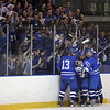 Salem: Danvers High School hockey players celebrate with fans , after scoring during game state tournament game at Salem State College. Photo by Mark Lorenz/Salem News