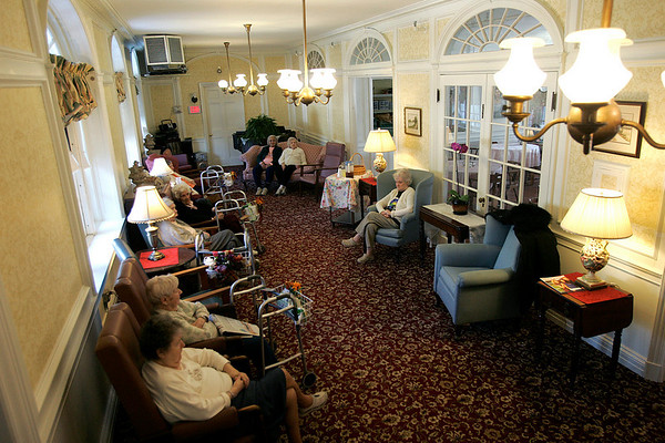Salem: Residents at the Brookhouse Home relax in the main sitting area. The home will be celebrating its 150th birthday. Photo Mark Lorenz/Salem News
