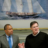 Salem: Governor Deval Patrick listens to Robbie Doyle, president of Doyle Sailmakers, Inc. explain what his company does, during a tour of the business in Salem. photo by Mark Lorenz/Salem News