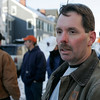 Salem: James Pimental organizer for The Bricklayers union speaks about the handouts they are doing in front the city courts . The union was protesting state's decision to allow a contractor, Lighthouse Masonry, to continue working on new courthouse after they were cited by OSHA for  safety violations that resulted in serious injuries to a worker. Photo Mark Lorenz/Salem News