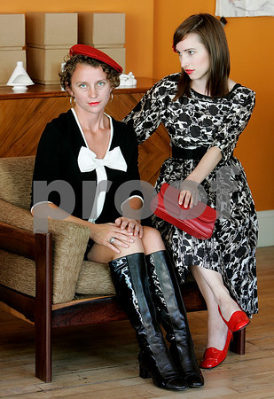 Salem: Rochelle Bourgault and Lindsay Erben, both of Salem, wearing clothing from Modern Millie's fashion of the 60's style clothing at Cabin Fever. Photo by Mark Lorenz/Salem News September 4, 2008