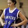Peabody: Danvers High School basketball player, Sarah Palazola, during game against Bishop Fenwick. Photo by Mark Lorenz/Salem News