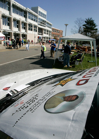 Danvers: One of a few cars from Michaud dealership at the Operation Troop Support's annual yard sale, which was held at the Holten Richmond Middle School. Photo by Mark Lorenz/Salem News