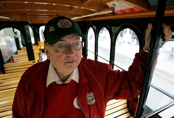 Salem: Ron Olson, trolly car driver. Photo by Mark Lorenz/Salem News