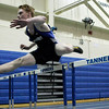 Peabody: Peabody's Zack Grube takes first in the 45m hurdle in 6 flat, during track meet against Beverly. Photo by Mark Lorenz/Salem News