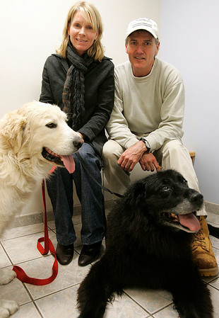 Danvers: Mike Allen and Mary Misencik and Mike Allen with their two dogs, Mackie and McKinley.  Mackie, who was lost for three days before being found after a search by about 100 people. They were at Danvers Animal Hospital for Mackie's and McKinley's appointment. Photo by Mark Lorenz/Salem News
