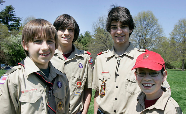 Danvers: Tim Jordan from Troop 16, Robert Parsins of Troop 155, Brian Menezes of Troop 67, and Jeramey Evans of troop 58 all of Danvers at the Scout Expo held at Endicott Park. Photo by Mark Lorenz