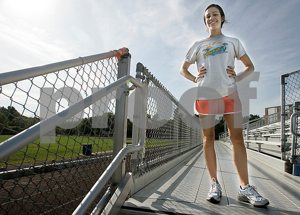 Topsfield: Abbey D'Agostino one of the top cross country runners in the area, attends Masconomet Regional High School. Photo by Mark Lorenz/Salem News August 28, 2008