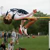 Ipswich: Hamilton-Wenham track star Jackson MacDonald in boys high jump in meet at Ipswich High. Photo by Mark Lorenz/Salem News