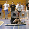 Danvers: Danvers High School student Anthony Panciocco uses a Pneumatic Glide, in Bill Tavers Technology/Science class. Anthony's classmate, Cam Butler behind pushed him off.  Photo by Mark Lorenz/Salem News