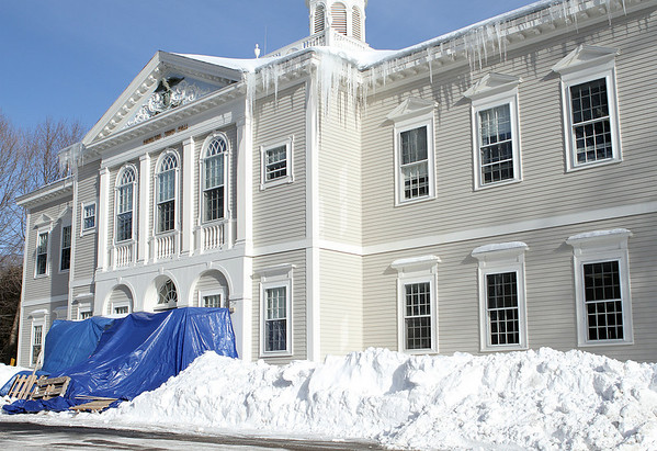 Hamilton: Hamilton's town hall is getting new granite steps, paid with Community Preservation Act money. Photo by Mark Lorenz/Salem News