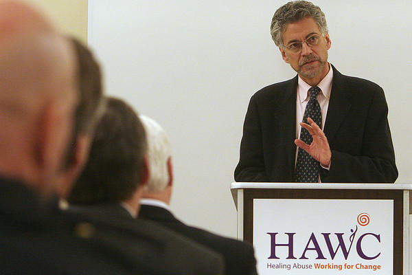 Danvers: John Auerbach, Commissioner MA Department of Public Health Domestic violence and public health response speaks at the HAWC press conference, during HAWC's announcement they have purchased a new house for their emergency shelter. Photo by Mark Lorenz/Salem News